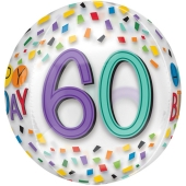 Happy Birthday Rainbow 60, Orbz Luftballon aus Folie, inklusive Helium