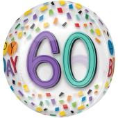 Happy Birthday Rainbow 60 Orbz Luftballon aus Folie ohne Ballongas