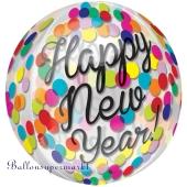 Orbz Silvester-Luftballon aus Folie, Happy New Year Konfetti inklusive Helium