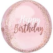 Happy Birthday Rose-Gold- Blush Orbz Luftballon aus Folie, inklusive Helium