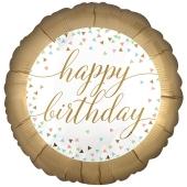 Geburtstags-Luftballon Pastel Confetti Happy Birthday, ohne Helium-Ballongas