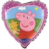 Luftballon aus Folie, Peppa Wutz und Teddy inklusive Helium