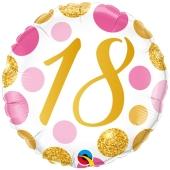 Luftballon zum 18. Geburtstag, Pink & Gold Dots 18, ohne Helium-Ballongas