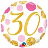 Luftballon zum 30. Geburtstag, Pink & Gold Dots 30, ohne Helium-Ballongas