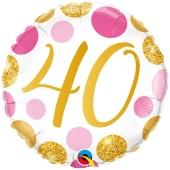 Luftballon zum 40. Geburtstag, Pink & Gold Dots 40, ohne Helium-Ballongas