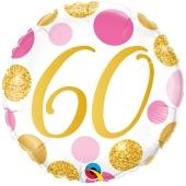Luftballon aus Folie mit Helium, Pink & Gold Dots 60, zum 60. Geburtstag
