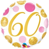 Luftballon zum 60. Geburtstag, Pink & Gold Dots 60, ohne Helium-Ballongas