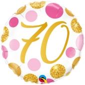 Luftballon zum 70. Geburtstag, Pink & Gold Dots 70, ohne Helium-Ballongas
