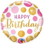 Pink & Gold Dots Happy Birthday, Luftballon zum Geburtstag mit Helium