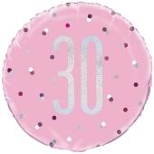 Luftballon zum 30. Geburtstag, Pink & Silver Glitz Birthday 30, ohne Helium-Ballongas