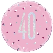 Luftballon aus Folie mit Helium, Pink & Silver Glitz Birthday 40, zum 40. Geburtstag