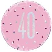 Luftballon zum 40. Geburtstag, Pink & Silver Glitz Birthday 40, ohne Helium-Ballongas