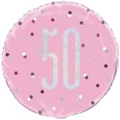 Luftballon zum 50. Geburtstag, Pink & Silver Glitz Birthday 50, ohne Helium-Ballongas