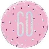 Luftballon zum 60. Geburtstag, Pink & Silver Glitz Birthday 60, ohne Helium-Ballongas