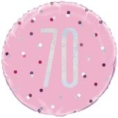 Luftballon aus Folie mit Helium, Pink & Silver Glitz Birthday 70, zum 70. Geburtstag