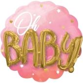 Folienballon, Jumbo Pink Baby Girl mit 3D-Effekt zur Geburt und Taufe