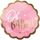 Folienballon Pink Baby Girl, ohne Helium zu Geburt und Taufe