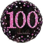 Luftballon zum 100. Geburtstag, Pink Celebration 100, ohne Helium-Ballongas