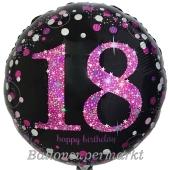 Luftballon aus Folie mit Helium, Pink Celebration 18, zum 18. Geburtstag