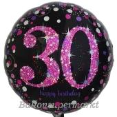 Luftballon aus Folie mit Helium, Pink Celebration 30, zum 30. Geburtstag