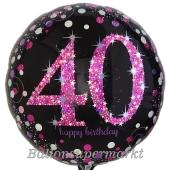 Luftballon zum 40. Geburtstag, Pink Celebration, ohne Helium-Ballongas
