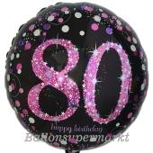 Luftballon zum 80. Geburtstag, Pink Celebration 80, ohne Helium-Ballongas