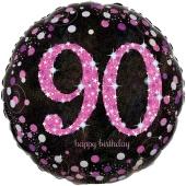 Luftballon zum 90. Geburtstag, Pink Celebration 90, ohne Helium-Ballongas