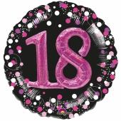 Holografischer Folienballon, Jumbo Pink Celebration Birthday 18 mit 3D-Effekt zum 18. Geburtstag
