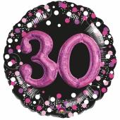 Holografischer Folienballon, Jumbo Pink Celebration Birthday 30 mit 3D effekt zum 30. Geburtstag