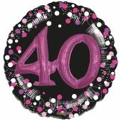 Holografischer Folienballon, Jumbo Pink Celebration 40 mit 3D effekt zum 40. Geburtstag