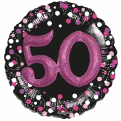 Holografischer Folienballon, Jumbo Pink Celebration 50 mit 3D effekt zum 50. Geburtstag