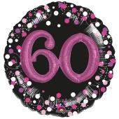 Holografischer Folienballon, Jumbo Pink Celebration 60 mit 3D effekt zum 60. Geburtstag