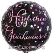 Geburtstags-Luftballon Pink Celebration Herzlichen Glückwunsch, ohne Helium-Ballongas