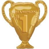 Champion Pokal Gold Luftballon aus Folie ohne Helium Ballongas