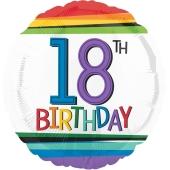 Luftballon aus Folie mit Helium, Rainbow Birthday 18, zum 18. Geburtstag