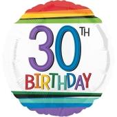 Luftballon zum 30. Geburtstag, Rainbow Birthday 30, ohne Helium-Ballongas
