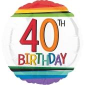 Luftballon aus Folie mit Helium, Rainbow Birthday 40, zum 40. Geburtstag