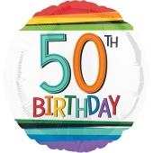 Luftballon zum 50. Geburtstag, Rainbow Birthday 50, ohne Helium-Ballongas
