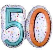 Zahlen-Luftballon zum 60. Geburtstag, Rainbow Birthday 60, Folienballon mit Ballongas