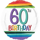 Luftballon zum 60. Geburtstag, Rainbow Birthday 60, ohne Helium-Ballongas