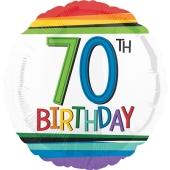Luftballon aus Folie mit Helium, Rainbow Birthday 70, zum 70. Geburtstag