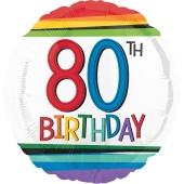 Luftballon aus Folie mit Helium, Rainbow Birthday 80, zum 80. Geburtstag