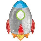 Blast Off Rakete Luftballon aus Folie ohne Ballongas