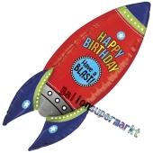 3D Luftballon Happy Birthday Rakete zum Geburtstag, ohne Helium