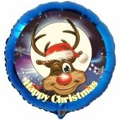 Folienballon Rentier, Happy Christmas, rund, ohne Helium/Ballongas