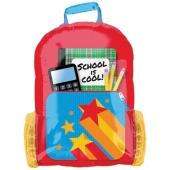 School is Cool Tornister, großer Luftballon aus Folie mit Ballongas-Helium zu Schulanfang, Einschulung, Schulbeginn
