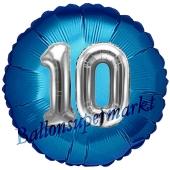 Runder Luftballon Jumbo Zahl 10, blau-silber mit 3D-Effekt zum 10. Geburtstag