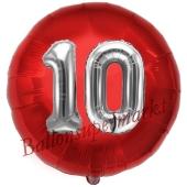 Runder Luftballon Jumbo Zahl 10, rot-silber mit 3D-Effekt zum 10. Geburtstag