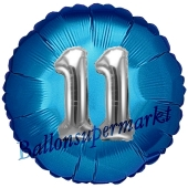 Runder Luftballon Jumbo Zahl 11, blau-silber mit 3D-Effekt zum 11. Geburtstag