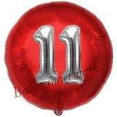 Runder Luftballon Jumbo Zahl 11, rot-silber mit 3D-Effekt zum 11. Geburtstag